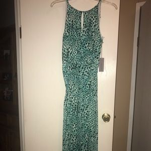 Teal Leopard Print Maxi Dress